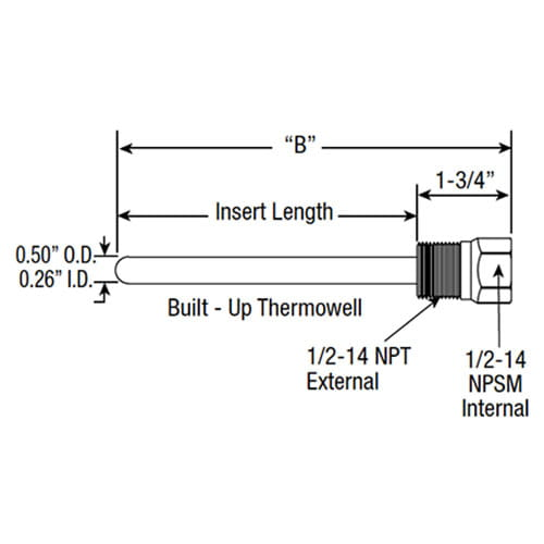 BUTW Thermowell Dimensions
