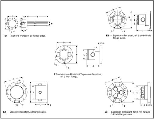 Dimensions Inches for Flanged Immersion Heaters
